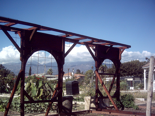 Impressive made-from-recycled trellis lives at the Winston Smoyer Memorial Community Garden, Alhambra CA.