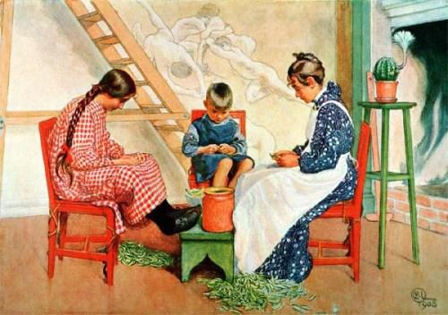 Peas 1908 Shelling Peas by Swedish artistCarl Larsson