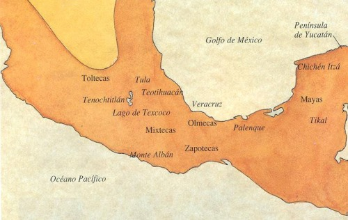 Map of MesoAmerica, Central America