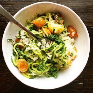 Zucchini Recipe Zoodles with Kale Pesto