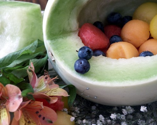 May is for Cantaloupe & more Melons! Honeydew Fruit Bowl Flowers