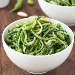 Zucchini Squash Zoodles Kale Pesto Edamame Recipe