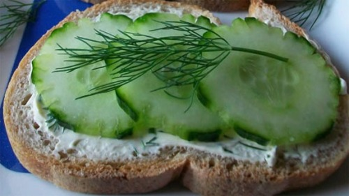 Cucumber Open Sandwich Dill Garnish