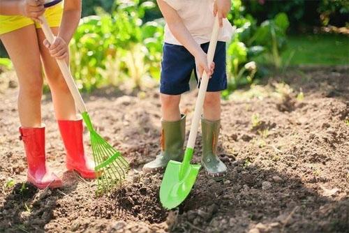 Earth Day Green Shovel and Rake! Boots and Kids!