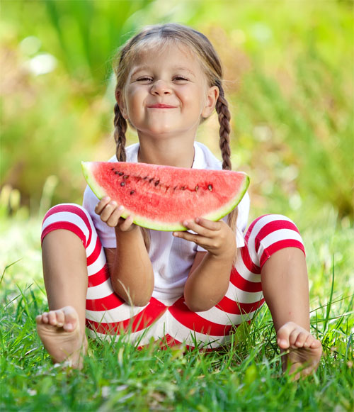 Little girl eating Watermelon! Red!