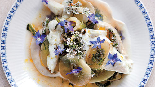 Martha Stewart uses the Herb Borage, StarFlower, in a lovely fish, cucumber & tahini dish!