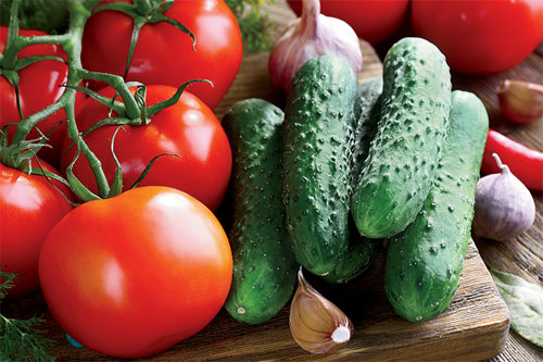 Tasty Tomatoes and Cucumbers right from your Garden!